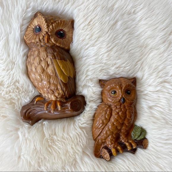 Vintage Retro Owl Chalkware Wall Decor Set Boho